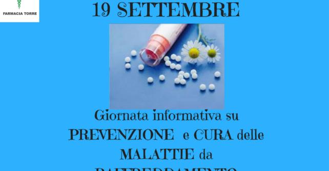 19 settembre: GIORNATA PREVENZIONE e CURA MALATTIE da RAFFREDDAMENTO