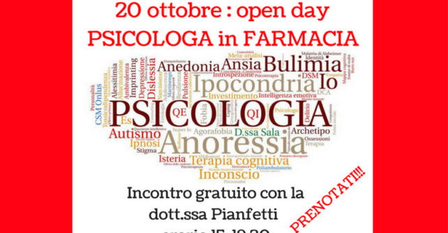 Open day: PSICOLOGO IN FARMACIA
