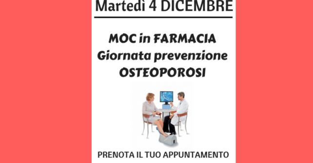 Martedì 4 dicembre:giornata di prevenzione osteoporosi