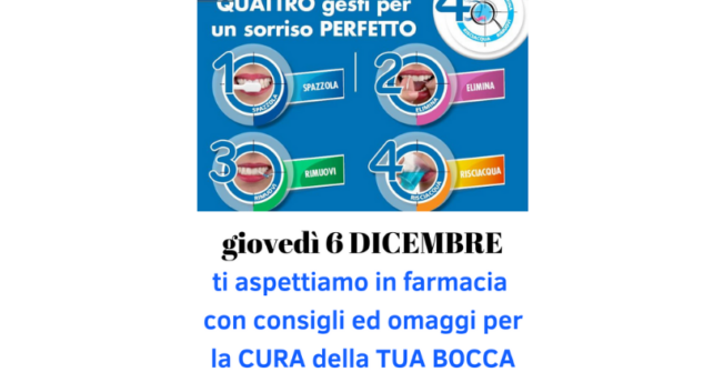 Giovedì 4 dicembre: pomeriggio dedicato al benessere della bocca