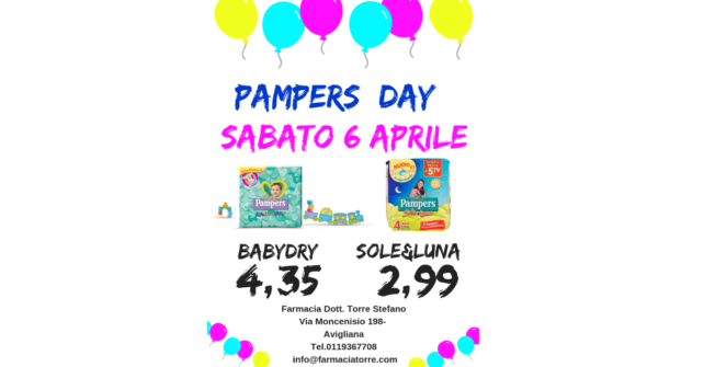 SABATO 6 APRILE: Pampers day
