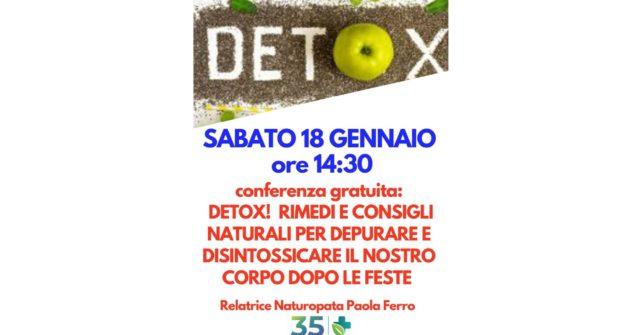 Conferenza gratuita: Detox! consigli e rimedi naturali per  depurare e disintossicare il nostro corpo dopo le feste