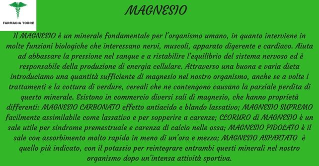 Magnesio: cos'è e a cosa serve